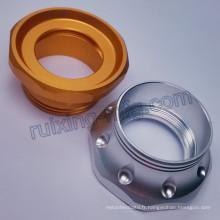 Aluminium faisant tourner le couvercle arrière de couverture de partie de lampe-torche de torche de la partie en métal de usinage LED
