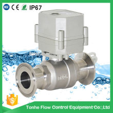 230V 2 vías 1 pulgada de control eléctrico Válvula de bola de acero inoxidable Válvula de bola sanitaria rápida eléctrica (T25-S2-CQ)
