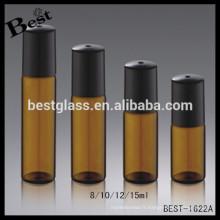 5 ml 10 ml bouteilles en verre coloré ambre brun clair bleu rouleau sur verre bouteille tube verre flacon huile essentielle rouleau bouteille