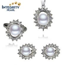 Ensemble de perles d'eau douce 8.5-9mm Bouton plus populaire Ensemble de perles de couleur blanche