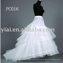 Vestido de novia de tren Capilla enagua PC016