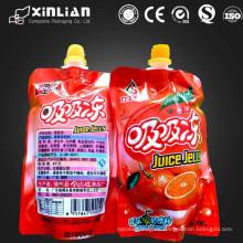Buena calidad diseño agradable gelatina irregular de la forma que empaqueta la bolsa de plástico con el canalón