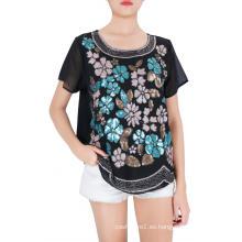 Blusa bordada multicolor para mujer