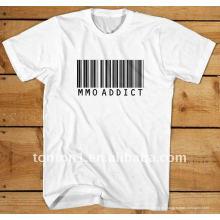 100% algodón blanco impreso camisetas de moda al por mayor