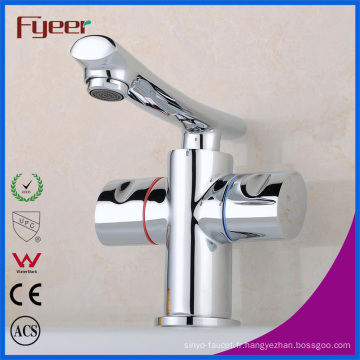 Fyeer pont monté chromé bec droit double poignée en laiton salle de bains lavabo robinet mélangeur d'eau Wasserhahn