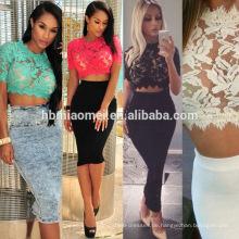 2017 großhandel Frauen Gold Spitze Applique Sommer Mini Bodycon Kleid