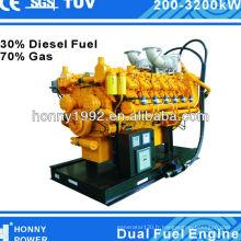 Honny double générateur de carburant avec 30% de carburant diesel, 70% gaz naturel