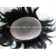 high quality human hair mono men's toupee wig/hairpieces/system