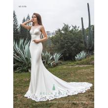 O último vestido de noiva decente design requintado decoração de decalque vestido de noiva rendas hemline