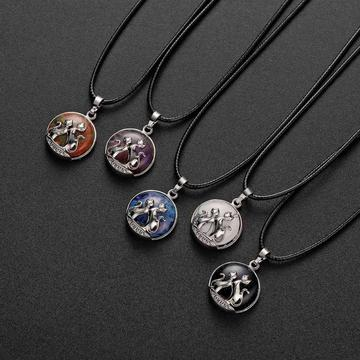 Natural Stone Chakra Healing Crystals Round Gemstone Pendant Necklace Silver Cat Jewelry for Womens Girls