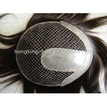 peluca remy india del pelo humano de la red remy para los hombres