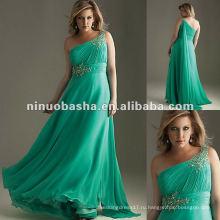 Асимметричный Плиссированные лиф шифон одно плечо вечернее платье 2012