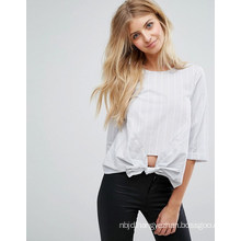 Ladies Stripe Blouse with Sexy Bare Midriff Blouse