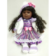 "12"" Black Hair Vinyl Doll"