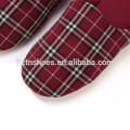 Fashion checked cotton fabric slipper mens good quality unisex couple indoor slipper