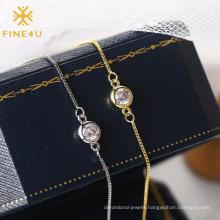 Minimalist fashion body chain jewelry single cubic zirconia brass gold plated foot jewelry anklets women