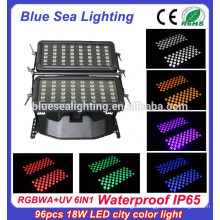 High quality 96pcs 18w 6 in 1 rgbwauv ip65 waterproof led city color