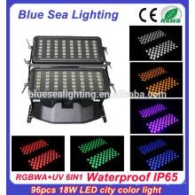 Высокое качество 96pcs 18w 6 в 1 rgbwauv ip65 водоустойчивый цвет водить города