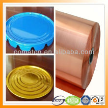 PET film laminated tinplate golden white green and other special color for metal cap production