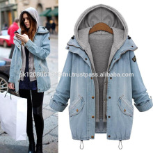 women jeans coat jacket with fleece lining and hoodie for warm winter custom made