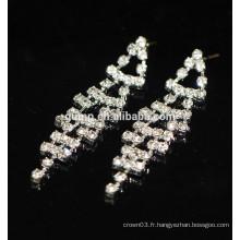 Nouvelle mode Promotion Elegant Silver Hanging Crystal Stud Earrings