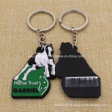 Großhandels-preiswerter kundenspezifischer Pferd PVC-Gummi Keychain