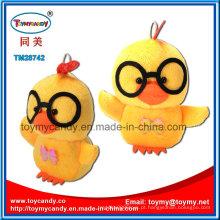 Brinquedo animal adorável dos desenhos animados de pingente de frango de pelúcia amarelo