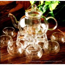 Стеклянный набор чая Стеклянная посуда Стеклянная посуда Кухонная посуда Стеклянный горшок