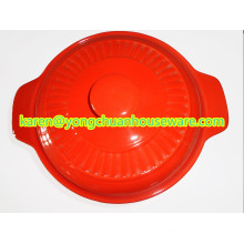 Cerâmica grande caçarola redonda com tampa cor vermelha