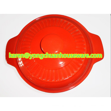 Ceramic Large Round Casserole with Lid-Red Color