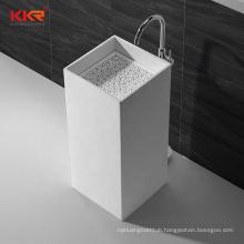 Bathroom wash basin Black color pedestal stone Round sink