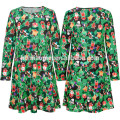Autumn Winter Lady Dress Casual Designer Christmas Costume Clothes Green Colorful Print Christmas Women dress