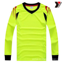 Camisa de futebol de manga comprida simples de alta performance com 5 cores