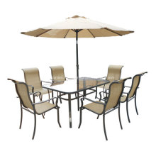 Outdoor Sling Möbel-8pc-ESS-Set mit Regenschirm-Clear Glass top