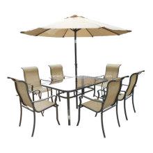 Eslinga al aire libre muebles 8pc set de comedor con tapa de cristal paraguas transparente