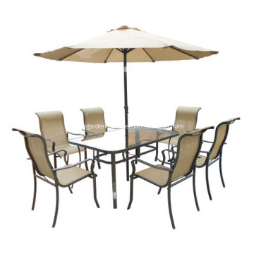 Outdoor sling furniture 8pc dining set with umbrella-clear glass top