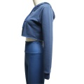 Blauer Crop Top Running Hoodie für Frauen