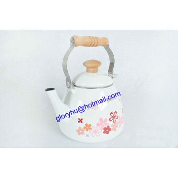 enamel tea kettle with bakelite handle and knob