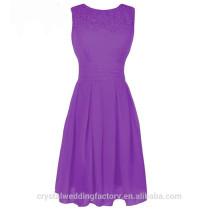 Wholesale Short Cheap Bridesmaid Dresses 2016 Chiffon Lace Evening Dress with Pleats Women Prom Dresses LBB72