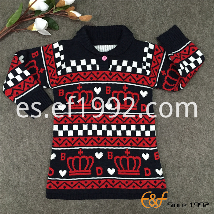 3-color jacquard sweater