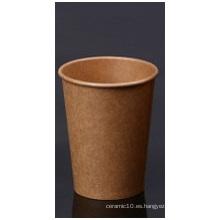 Taza de papel Kraft marrón con una sola pared