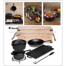 Drei Beine Gusseisen Holländer Ofen Camping Pot mit Deckel