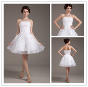 New Style Hot Sale Ball Gown White Lace Strapless Sexy Short Lace Wedding Dresses 2014 with Jacket