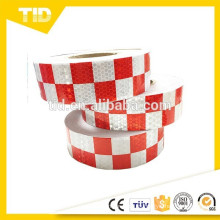 Cinta reflectante a cuadros, blanca y roja, cinta reflectante de seguridad