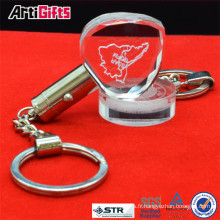 Meilleure vente 3d laser gravure porte-clés en verre de cristal
