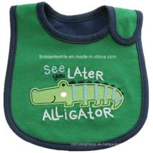 Werbeartikel Cartoon Alligator Applikation Stickerei Weiche Baumwolle Frottee Feeder Kinder Schürze Lätzchen
