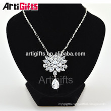 New Model White Gold Plating CZ Diamond Necklace Flowers Beautiful Girl Necklace