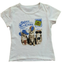 Fashion Girl Kids Clothes Cool Cat T-Shirt with Printing Sgt-036