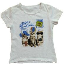 A menina da forma caçoa o t-shirt fresco do gato da roupa com impressão Sgt-036