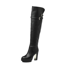 100% genuine leather boots women's platform leather tight knee high boots